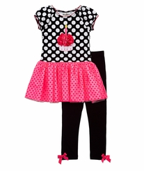 Rare Editions- Black/ White Polka Dot Cupcake Tutu Legging Set CLEARANCE