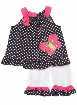 Rare Editions Black/ White Polka Dot Legging Set With Butterfly Applique FINAL SALE