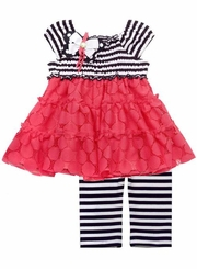 Rare Editions Black/ White Smocked Stripe Knit and Coral Lace Legging Set