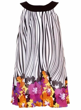 Rare Editions Black/ White Zebra Print Dress With Floral Border CLEARANCE