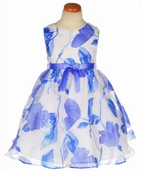 Rare Editions Blue Floral Burnout Dress - ALMOST GONE