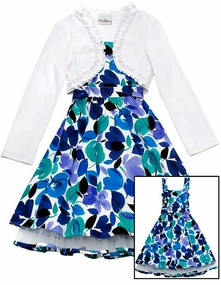 Rare Editions Blue Floral White Cardigan Dress  CLEARANCE
