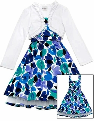 Rare Editions Blue Floral White Cardigan Dress  sold out