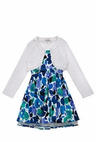 Rare Editions Blue Floral White Cardigan Dress
