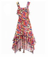 Rare Editions Blue / Orange Floral Print Hi - Low Dress With Belt