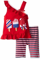 Rare Editions Blue Patriotic Icecream Stripe Capri Set