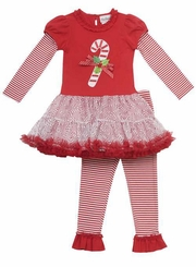 Rare Editions - Candy Cane Organza Tutu Legging Set
