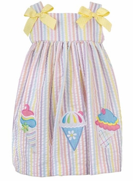 Rare Editions Candy Stripe Seersucker Dress With Ice Cream Cones