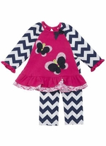 Rare Editions-Chevron Fuchsia Butterfly Applique Legging Set