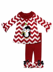 Rare Editions - Chevron Knit Penquin Applique Girls Legging Set