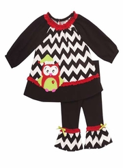 Girl's Christmas Outfits : Black Chevron Owl Legging Set