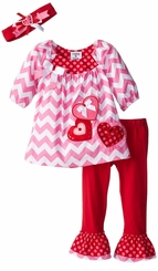 Rare Editions Chevron Woven Heart Pant Set with Headband