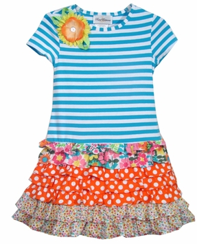 Rare Editions Dress Girls 2T - 12  Turquoise Striped Tiered Ruffle Dress SALE