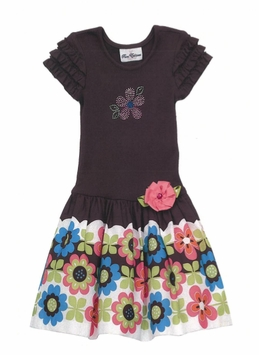 Rare Editions Border Floral Dress  2T LAST ONE FINAL SALE