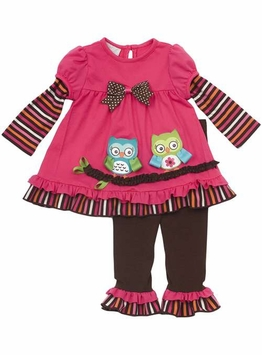 Rare Editions Infant Girl's Pant Set : Fuchsia Owl Appliques SOLD OUT