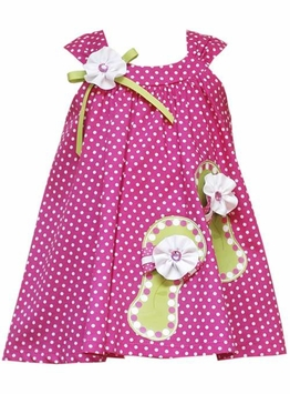 Rare Editions Fuchsia Polka Dot Dress With Sandal Applique - Out of Stock