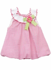Rare Editions - Fuchsia/White Check  Seersucker Bubble Romper with Smock