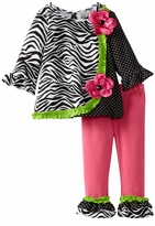 Rare Editions - Fuchsia Zebra Print Knit Legging Set