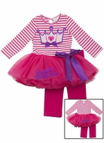 CLEARANCE Rare Editions Girl's Fuchsia Stripe Birthday Tutu
