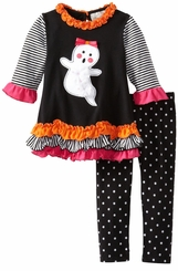 Rare Editions Girl's Halloween Outfit : Ghost Polka Dot Girl's Legging Set