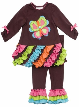 Rare Editions Girl's Clothing :  Brown Butterfly Pant Set