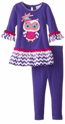 Rare Editions Girl's Purple Chevron Girl's Legging Set SALE