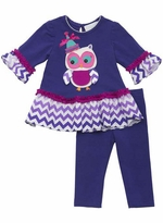 Rare Editions Girl's Purple Chevron Girl's Legging Set