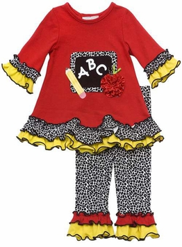 Rare Editions ABC Chalkboard Girl's Red Back to School Legging Set (F275023)