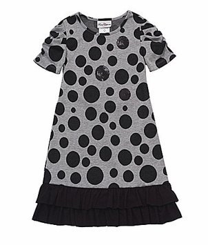 Rare Editions Girls 2T - 16 Grey Dot Knit Dress  CLEARANCE FINAL SALE