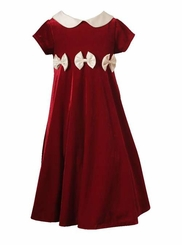 Rare Editions Girls 4-6X Red Velvet Girls Holiday Bow Dress FINAL SALE