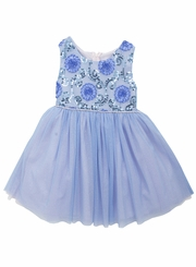 Rare Editions Girls Blue Soutache Sequin Party Dress