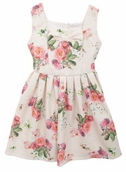 Rare Editions Girls Brocade Ivory Floral Dress