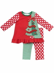 Rare Editions Girls Christmas Outfit - Dots and Stripes Tree Pant Set