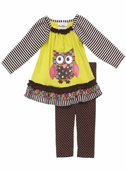 Rare Editions : Infant Girls Clothes Brown Owl Legging Set  FINAL SALE