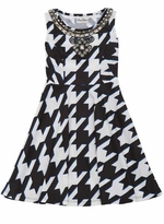 Rare Editions Girls' Embellished Houndstooth Dress