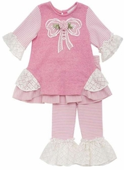 Rare Editions Girls Pink Heather Lace Bow Pant Set