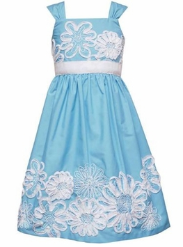 Rare Editions Girls Turquoise Soutache Sundress 4-6X CLEARANCE Final Sale