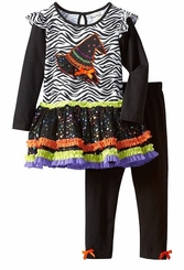 Rare Editions - Girls Halloween Zebra Witch Hat Tutu Legging Set
