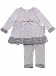 Rare Editions Infant Dressy Silver Sparkle Ruffles Knit Set - SOLD OUT