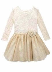 Rare Editions Ivory Lace Gold Hipster Dress