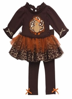 Rare Editions Brown Turkey Animal Print Tutu Legging Set  24 month