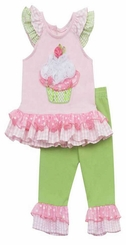 Rare Editions Lime 3D Cupcake Ruffle Legging Set SALE