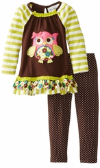 Rare Editions Lime Stripe Owl Legging Set sold out