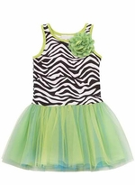Rare Editions Lime Zebra Tutu Dress