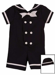 Rare Editions Little Boys Navy Nautical Suit w/Sailor Hat