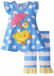 Rare Editions Little Girl's Periwinkle Yellow Duck Capri Set 2T - 4T