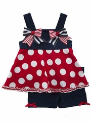 Rare Editions Little Girls 4th of July Dots & Stripes Tunic & Short Set