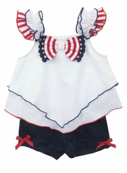 Rare Editions Little Girls 4th of July Lace Shorts Set