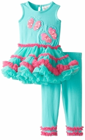 Rare Editions Little Girls Aqua Butterfly Tutu Legging Set sold out