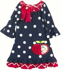 Rare Editions Little Girls Back to School Dot Abc Dress